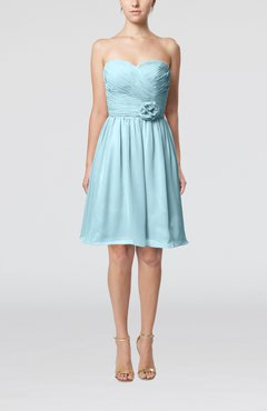 Aqua Romantic Sweetheart Zipper Knee Length Flower Bridesmaid Dresses
