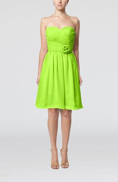 Bright Green Romantic Sweetheart Zipper Knee Length Flower Bridesmaid Dresses