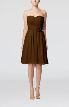 Brown Romantic Sweetheart Zipper Knee Length Flower Bridesmaid Dresses