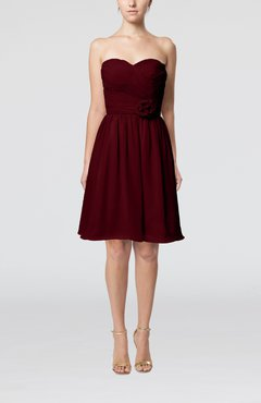 Burgundy Romantic Sweetheart Zipper Knee Length Flower Bridesmaid Dresses