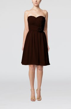 Chocolate Brown Romantic Sweetheart Zipper Knee Length Flower Bridesmaid Dresses