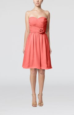 Coral Romantic Sweetheart Zipper Knee Length Flower Bridesmaid Dresses