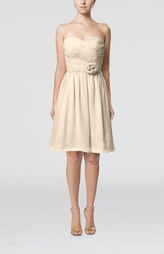 Cream Romantic Sweetheart Zipper Knee Length Flower Bridesmaid Dresses