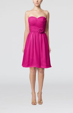 Hot Pink Romantic Sweetheart Zipper Knee Length Flower Bridesmaid Dresses
