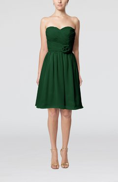 Hunter Green Romantic Sweetheart Zipper Knee Length Flower Bridesmaid Dresses