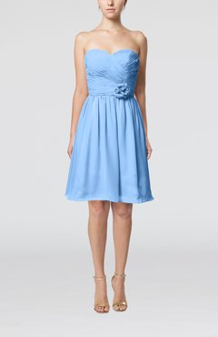 Light Blue Romantic Sweetheart Zipper Knee Length Flower Bridesmaid Dresses