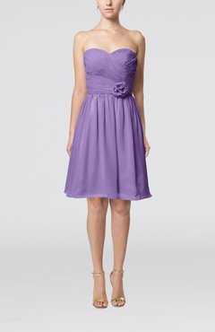 Lilac Romantic Sweetheart Zipper Knee Length Flower Bridesmaid Dresses