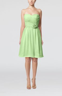 Pale Green Romantic Sweetheart Zipper Knee Length Flower Bridesmaid Dresses