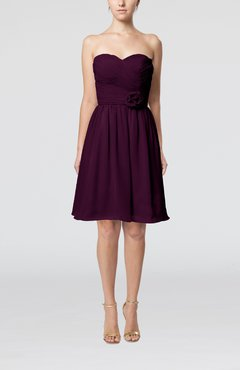 Plum Romantic Sweetheart Zipper Knee Length Flower Bridesmaid Dresses