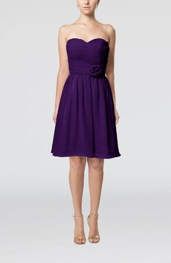 Royal Purple Romantic Sweetheart Zipper Knee Length Flower Bridesmaid Dresses