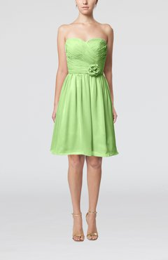 Sage Green Romantic Sweetheart Zipper Knee Length Flower Bridesmaid Dresses