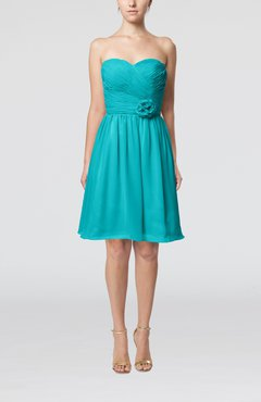 Teal Romantic Sweetheart Zipper Knee Length Flower Bridesmaid Dresses