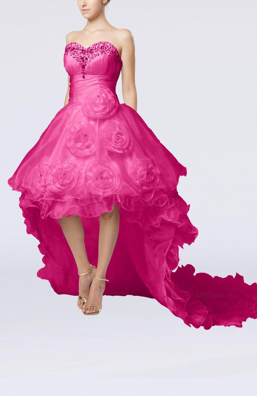Hot pink modern outdoor baby doll sleeveless zipper for Baby doll wedding dress