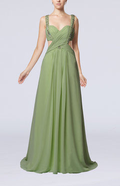 Sage Green Sexy Sweetheart Sleeveless Criss-cross Straps Chiffon Brush Train Homecoming Dresses