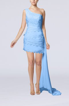 Light Blue Sexy Garden Sheath Sleeveless Chiffon Lace Bridal Gowns