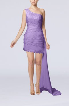 Lilac Sexy Garden Sheath Sleeveless Chiffon Lace Bridal Gowns