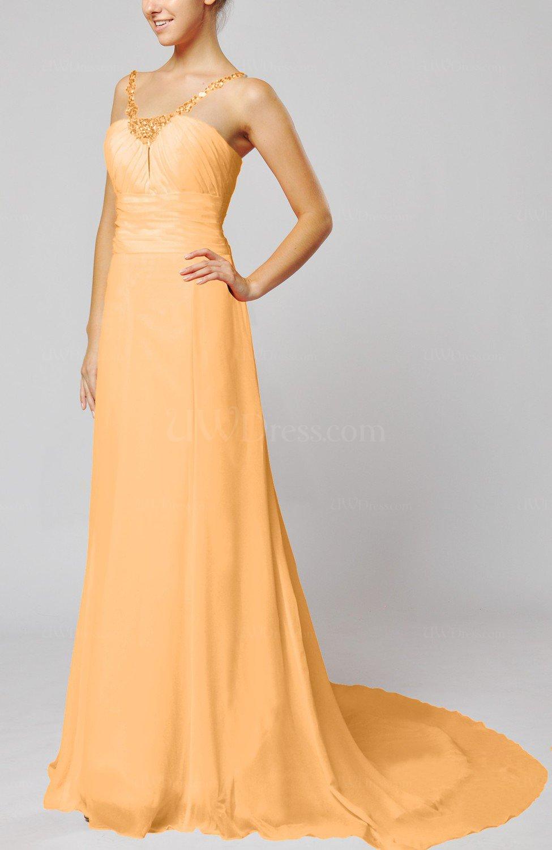 Apricot elegant outdoor sheath lace up chiffon court train for Sheath chiffon wedding dresses