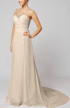 Cream Elegant Outdoor Sheath Lace Up Chiffon Court Train Bridal Gowns
