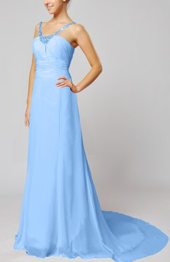 Light Blue Elegant Outdoor Sheath Lace up Chiffon Court Train Bridal Gowns