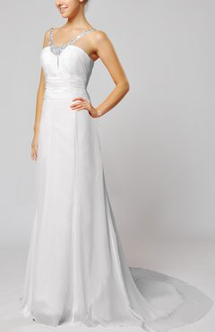 White Elegant Outdoor Sheath Lace up Chiffon Court Train Bridal Gowns