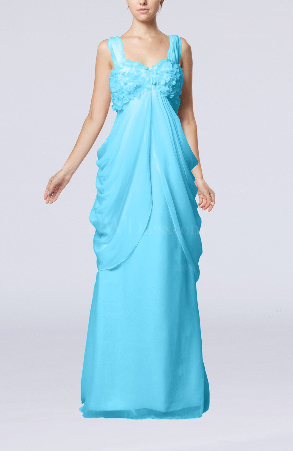 Turquoise Elegant Destination Sleeveless Lace up Chiffon Floor ...