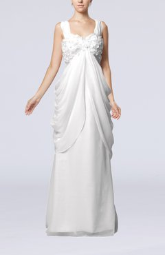 White Elegant Destination Sleeveless Lace up Chiffon Floor Length Draped Bridal Gowns