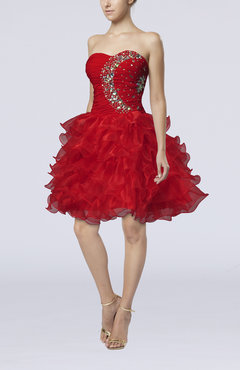 Red Fairytale Baby Doll Zipper Organza Beaded Homecoming Dresses