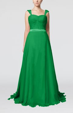 Green Romantic A-line Thick Straps Zip up Brush Train Sash Wedding Guest Dresses