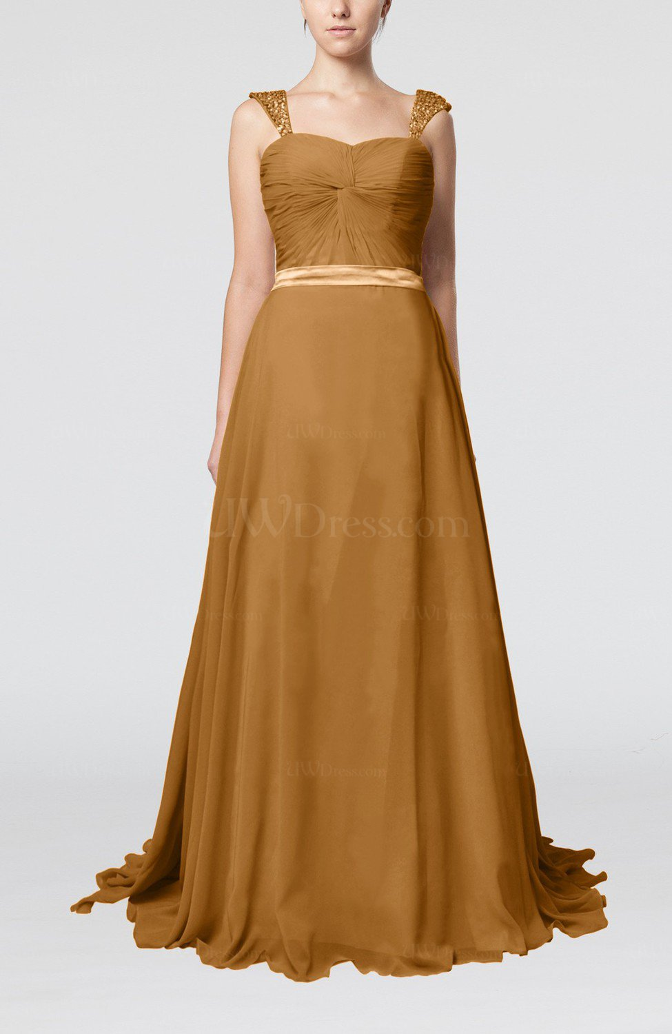 Light brown romantic a line thick straps zip up brush for Brown dresses for wedding guest