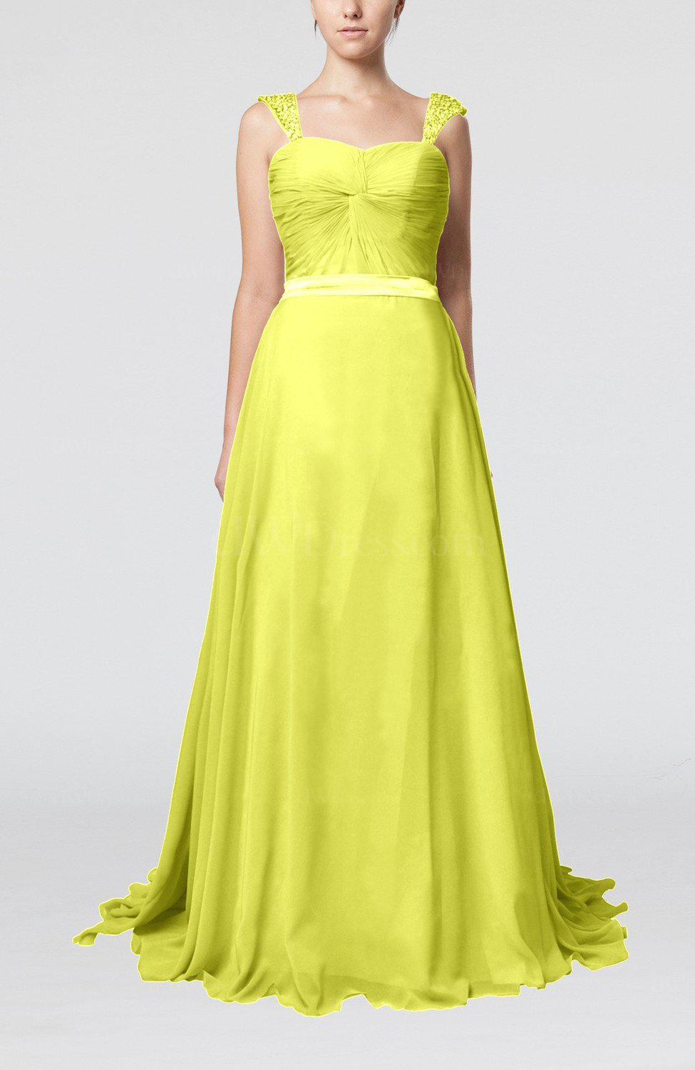 Pale yellow romantic a line thick straps zip up brush for Yellow dresses for wedding guests