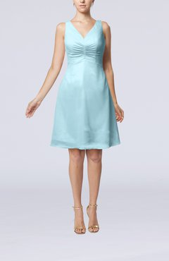 Aqua Mature A-line V-neck Knee Length Pleated Bridesmaid Dresses