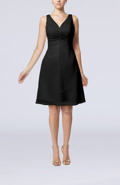 Black Mature A-line V-neck Knee Length Pleated Bridesmaid Dresses
