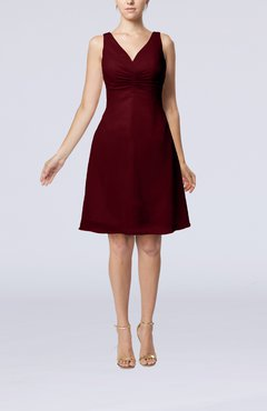 Burgundy Mature A-line V-neck Knee Length Pleated Bridesmaid Dresses