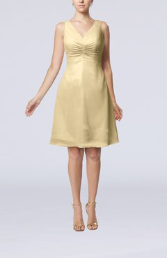 Champagne Mature A-line V-neck Knee Length Pleated Bridesmaid Dresses