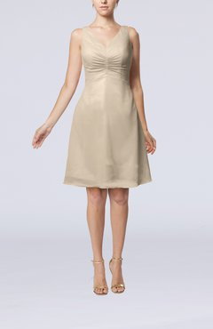 Cream Mature A-line V-neck Knee Length Pleated Bridesmaid Dresses