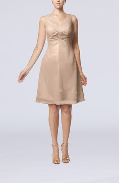 Dusty Rose Mature A-line V-neck Knee Length Pleated Bridesmaid Dresses
