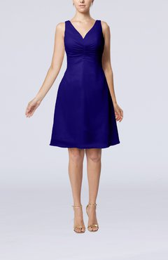 Electric Blue Mature A-line V-neck Knee Length Pleated Bridesmaid Dresses