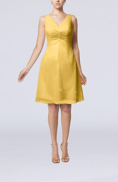 Gold Mature A-line V-neck Knee Length Pleated Bridesmaid Dresses
