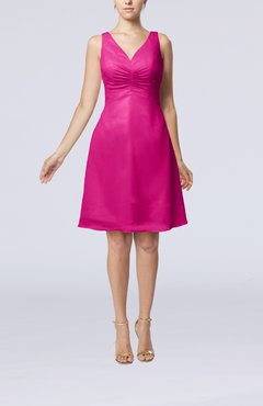 Hot Pink Mature A-line V-neck Knee Length Pleated Bridesmaid Dresses