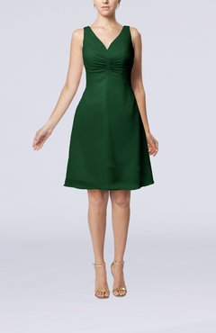 Hunter Green Mature A-line V-neck Knee Length Pleated Bridesmaid Dresses
