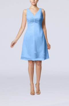 Light Blue Mature A-line V-neck Knee Length Pleated Bridesmaid Dresses