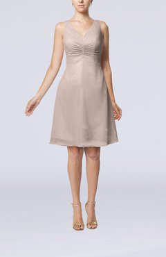 Light Pink Mature A-line V-neck Knee Length Pleated Bridesmaid Dresses