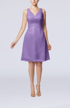 Lilac Mature A-line V-neck Knee Length Pleated Bridesmaid Dresses
