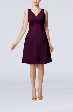 Plum Mature A-line V-neck Knee Length Pleated Bridesmaid Dresses