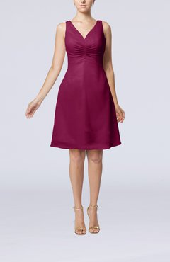 Raspberry Mature A-line V-neck Knee Length Pleated Bridesmaid Dresses