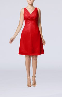 Red Mature A-line V-neck Knee Length Pleated Bridesmaid Dresses