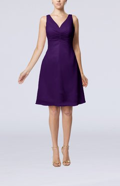 Royal Purple Mature A-line V-neck Knee Length Pleated Bridesmaid Dresses