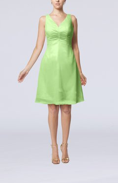 Sage Green Mature A-line V-neck Knee Length Pleated Bridesmaid Dresses