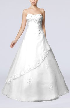 White Cinderella Hall Sleeveless Backless Organza Sequin Bridal Gowns