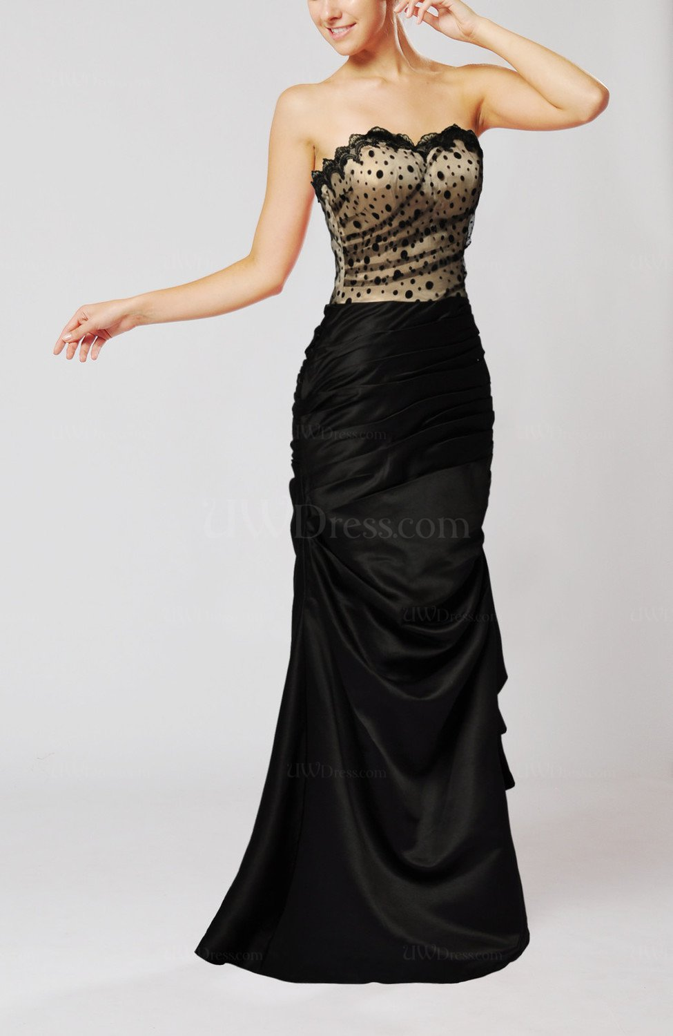 Black sexy column sleeveless silk like satin draped for Sexy dresses for wedding guests